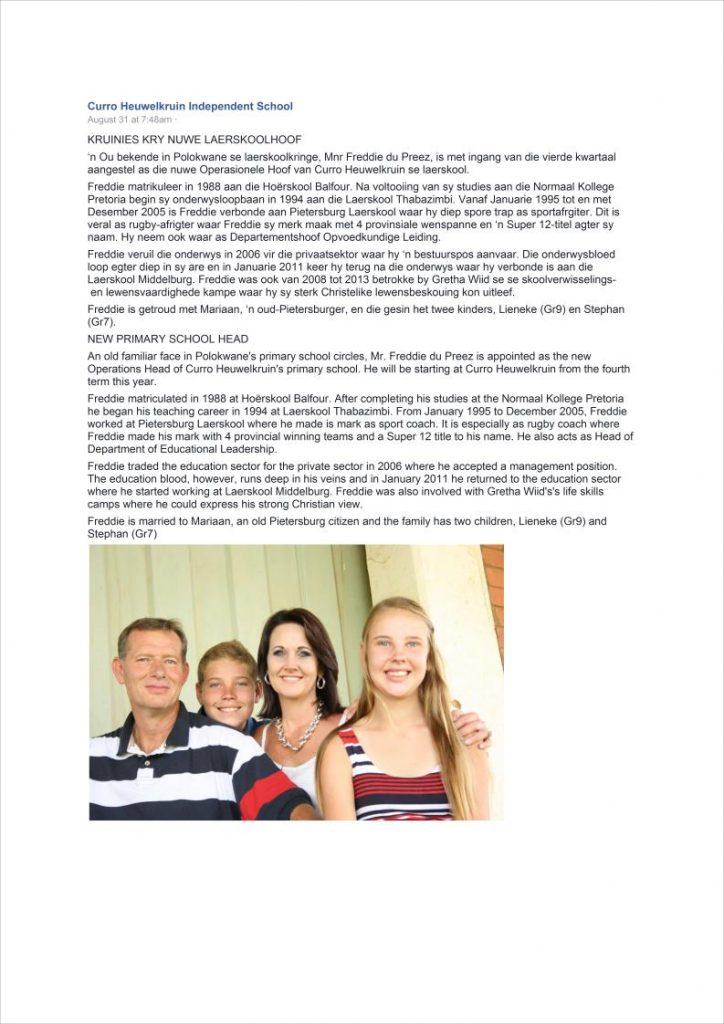 Pietersburg Laerskool Oud Leerlinge en Personeel